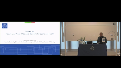 "Thumbnail for entry Charalampos Orfanidis PhD Defense at CBH/KTH - 200925: ""Robust Low-Power Wide Area Networks for Sports and Health"""