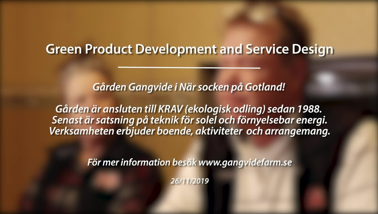 Module 5: Green product development and service design. Gangvide Farm