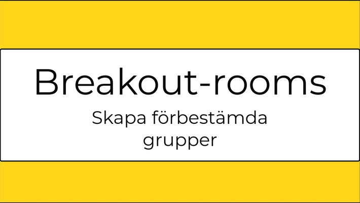 Förbered breakout-rooms i Zoom