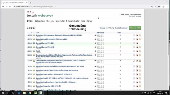 Miniatyr för kanal Instruktion Websurvey