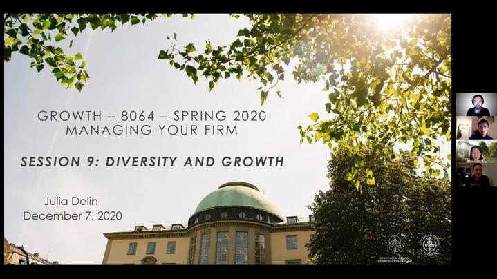 Thumbnail for channel SSES Growth  - Managing your firm (Fall semester 2020)