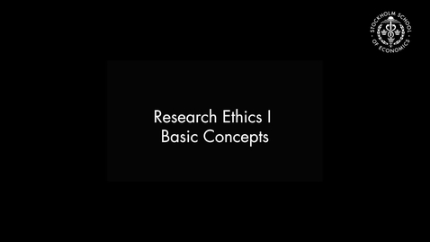 Thumbnail for entry Research Ethics I – Basic Concepts