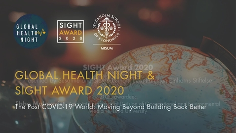 Thumbnail for entry Global Health Night and SIGHT Award 2020 - SIGHT Award presentation