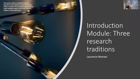 Thumbnail for entry Introduction Module: three research traditions