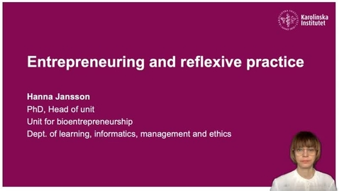 Thumbnail for entry Entrepreneuring and reflexive practice