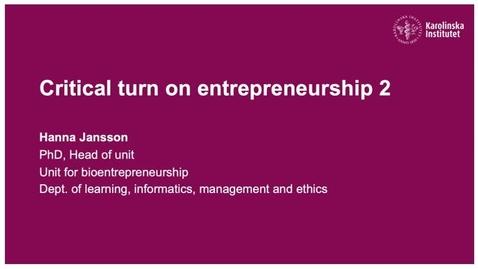 Thumbnail for entry Critical turn on entrepreneurship 2