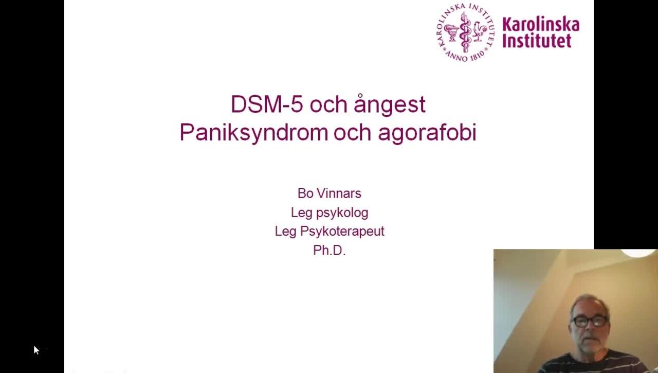DSM-5 och Ångest. Paniksyndrom och agorafobi_Bo Vinnars