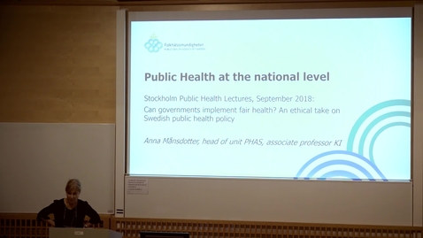 Thumbnail for entry Stockholm Public Health Lecture: Dr Anna Månsdotter