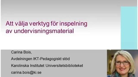 Thumbnail for entry Att välja verktyg för inspelning av undervisningsmaterial