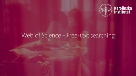 Thumbnail for entry Web of Science - free-text searching
