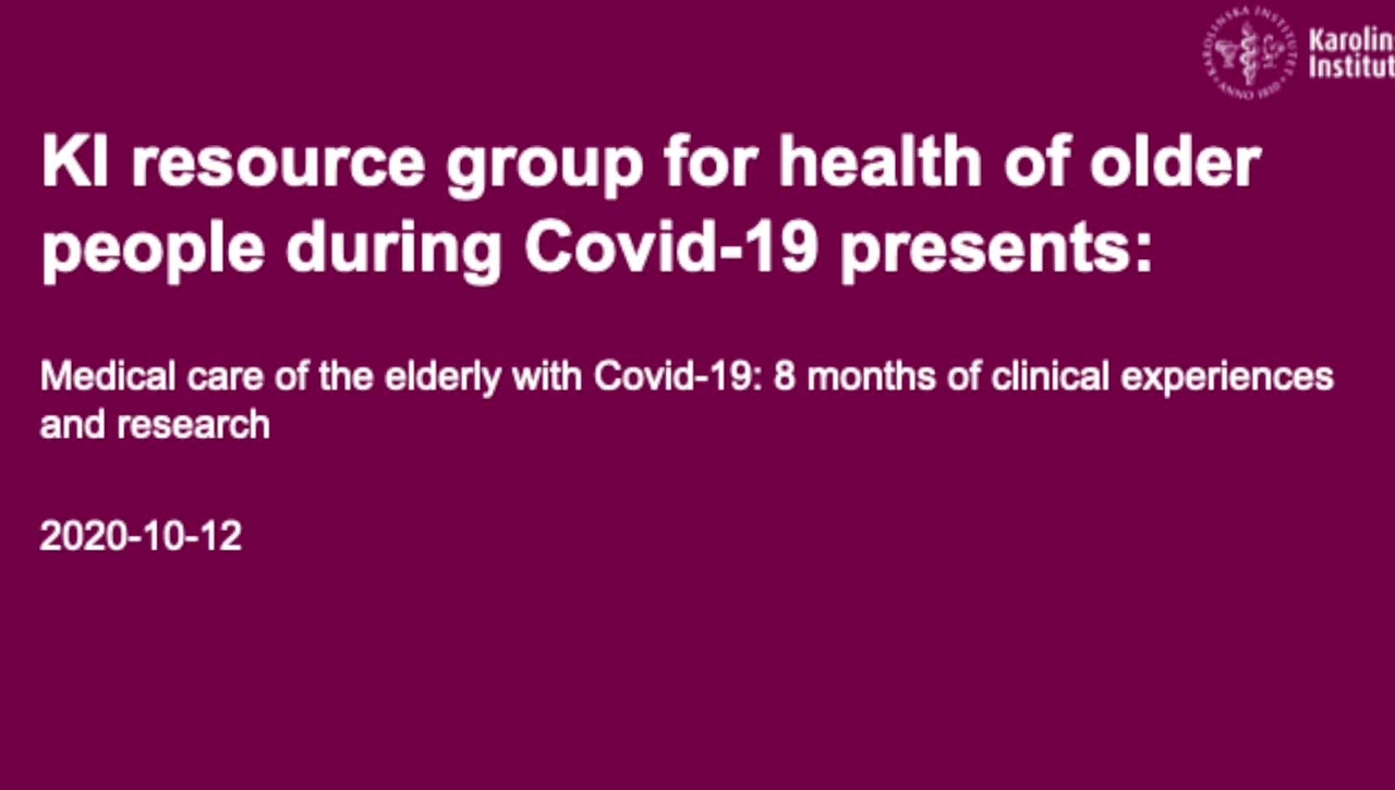 Medical care of the elderly with Covid-19 PART 1 OF 3