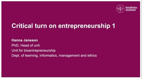 Thumbnail for entry Critical turn on entrepreneurship 1