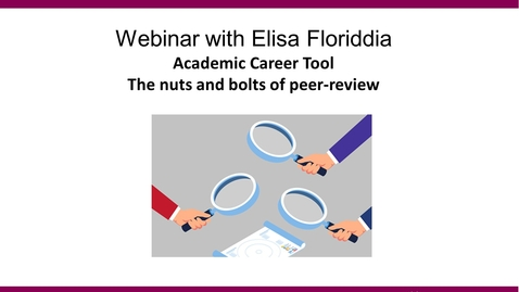 Thumbnail for entry The nuts and bolts of peer review