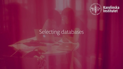 Thumbnail for entry Selecting databases
