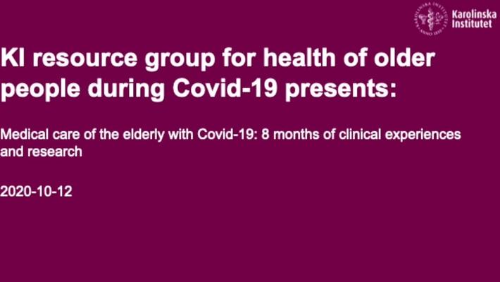 Medical care of the elderly with Covid-19 PART 2 OF 3 - Medicinsk vård av äldre personer med Covid-19