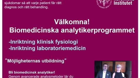 Thumbnail for entry Välkommen till Biomedicinska analytikerprogrammet