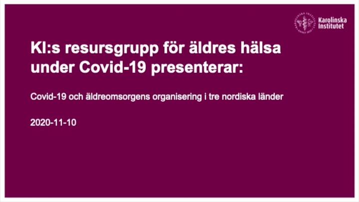 Thumbnail for channel Resursgruppen för äldres hälsa under Covid-19
