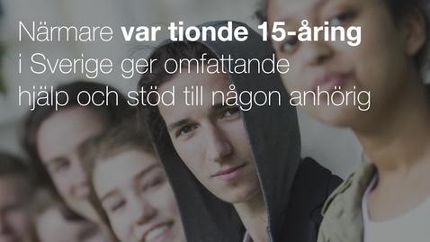 Miniatyr för mediepost Närmare var tionde 15-åring i Sverige ger omfattande hjälp och stöd till någon anhörig