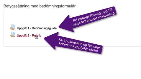 Miniatyr för mediepost Betygssättning med bedömningsformulär i MyMoodle