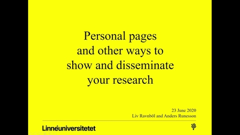 Thumbnail for entry Personal pages and other ways to show and disseminate your research