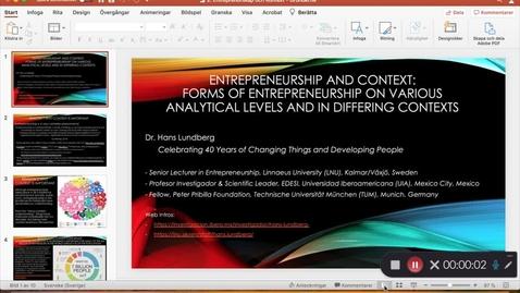 Miniatyr för mediepost Entreprenörskap och kontext