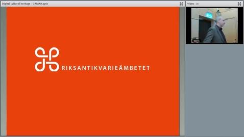 "Miniatyr för mediepost Henrik Summanen's seminar ""National coordination and development of the Swedish digital cultural heritage"", 10 Apr 2018"