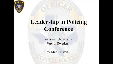 Miniatyr för mediepost Leading change in the Police Culture