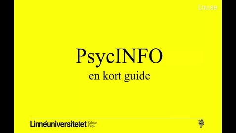 Thumbnail for entry PsycINFO - en kort guide