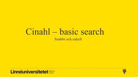 Miniatyr för inlägg Cinahl - basic (snabbt och enkelt)