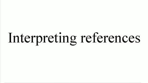 Miniatyr för inlägg Interpreting References