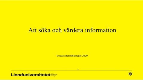 Miniatyr för mediepost Att söka och värdera information - Grundfilm