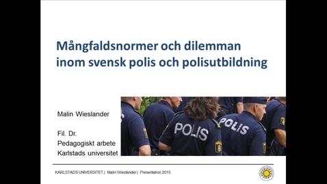Thumbnail for entry Ordningsmakter inom ordningsmakten - om blivande polisers samtal om mångfald