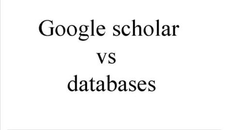 Miniatyr för mediepost Google Scholar vs Databases