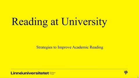 Miniatyr för mediepost Reading strategies