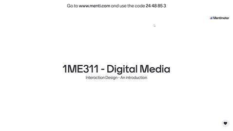 Miniatyr för inlägg 1ME311 - Interaction Design
