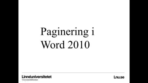 Miniatyr för mediepost Paginering i word