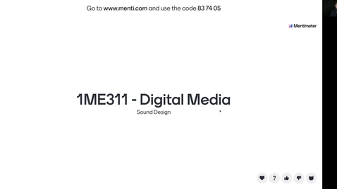 Miniatyr för inlägg 1ME311 - Sound Design