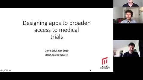 Thumbnail for entry Dario Salvi K3 seminar September 23, 2020: Supporting clinical research through citizens science: The Mobistudy app