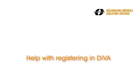 Miniatyr för inlägg Help with registering in DiVA