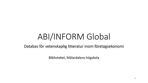 Miniatyr för inlägg ABI/INFORM Global