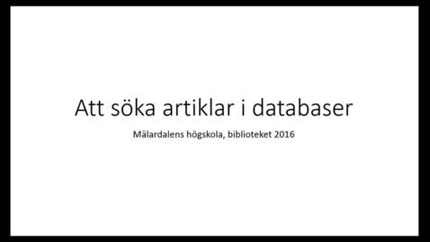 Miniatyr för inlägg Att söka artiklar i databaser