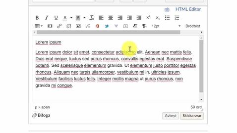 Miniatyr för inlägg Texteditorn i Canvas