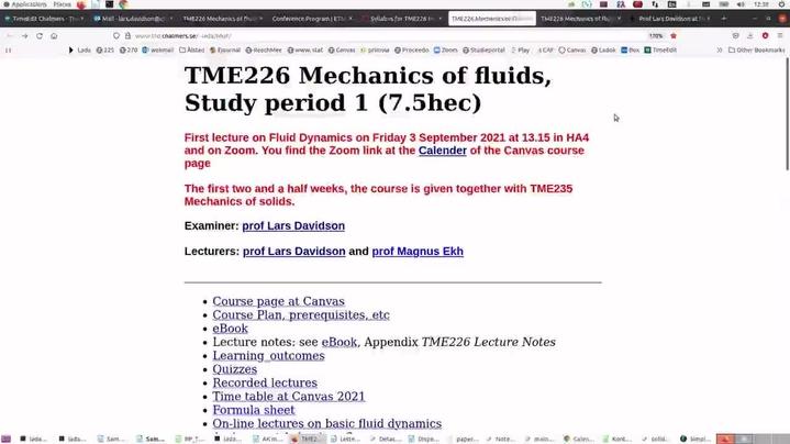 Miniatyr för kanal TME226 Mechanics of fluids