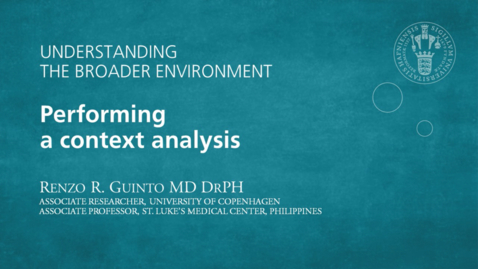 Thumbnail for entry Understanding the broader environment - Performing a context analysis