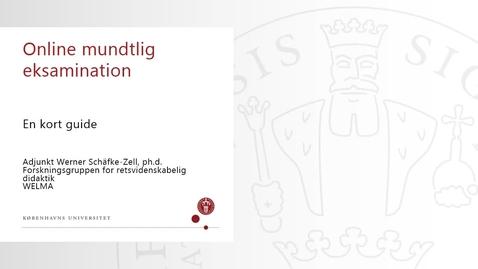 Thumbnail for entry Online mundtlig eksamination - En kort guide