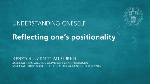 Thumbnail for entry Understanding oneself – Reflecting one's positionality