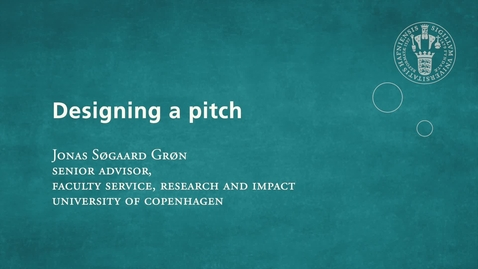 Thumbnail for entry Designing a Pitch