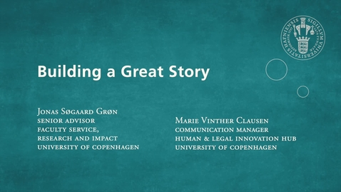 Thumbnail for entry Building a Great Story