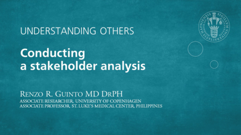 Thumbnail for entry Understanding Others - Conducting a stakeholder analysis