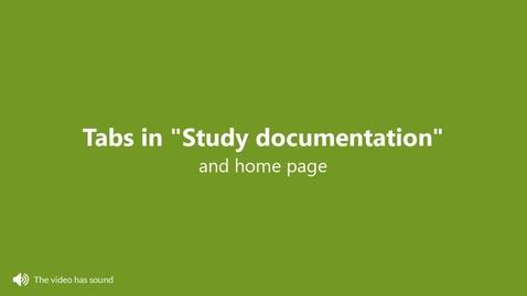 Miniatyr för inlägg Tabs in Study documentation and the home page